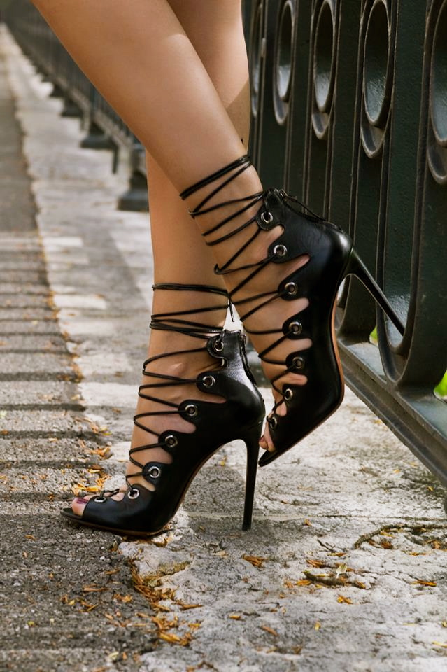 Fashionable strappy high heels, shop the look