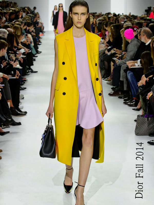 Christian Dior, Fall 2014, yellow coat