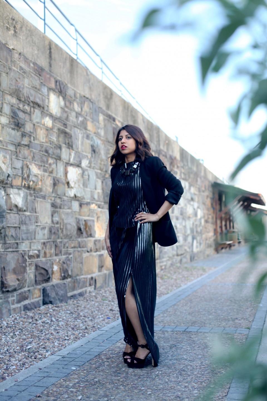 NYE outfit inspiration black blazer silver skirt