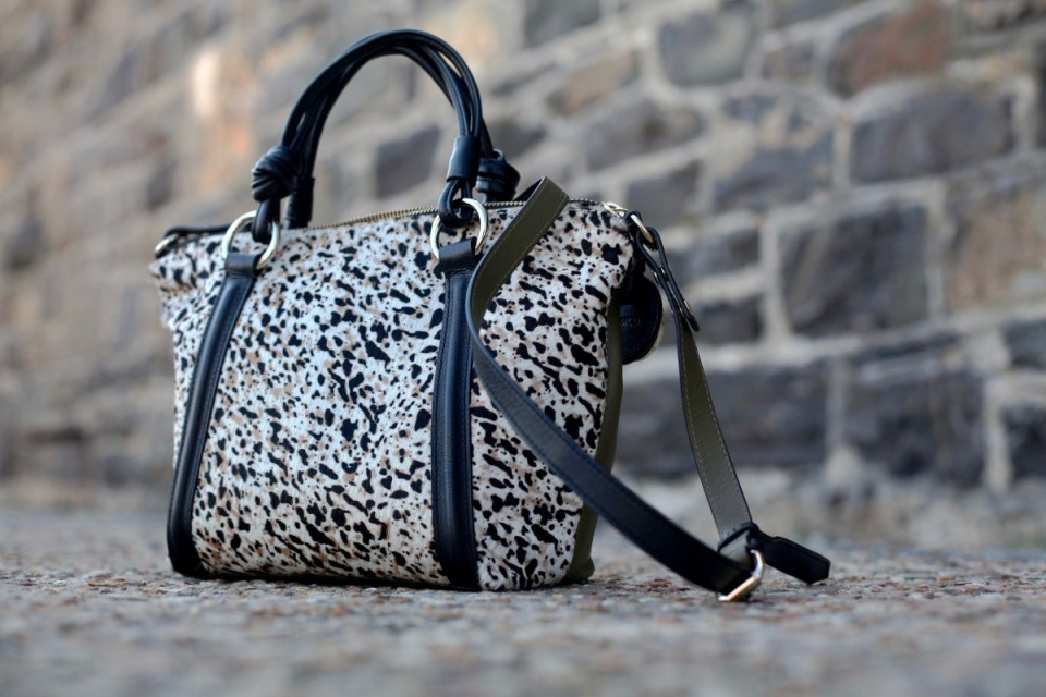 leather animal print tote handbag