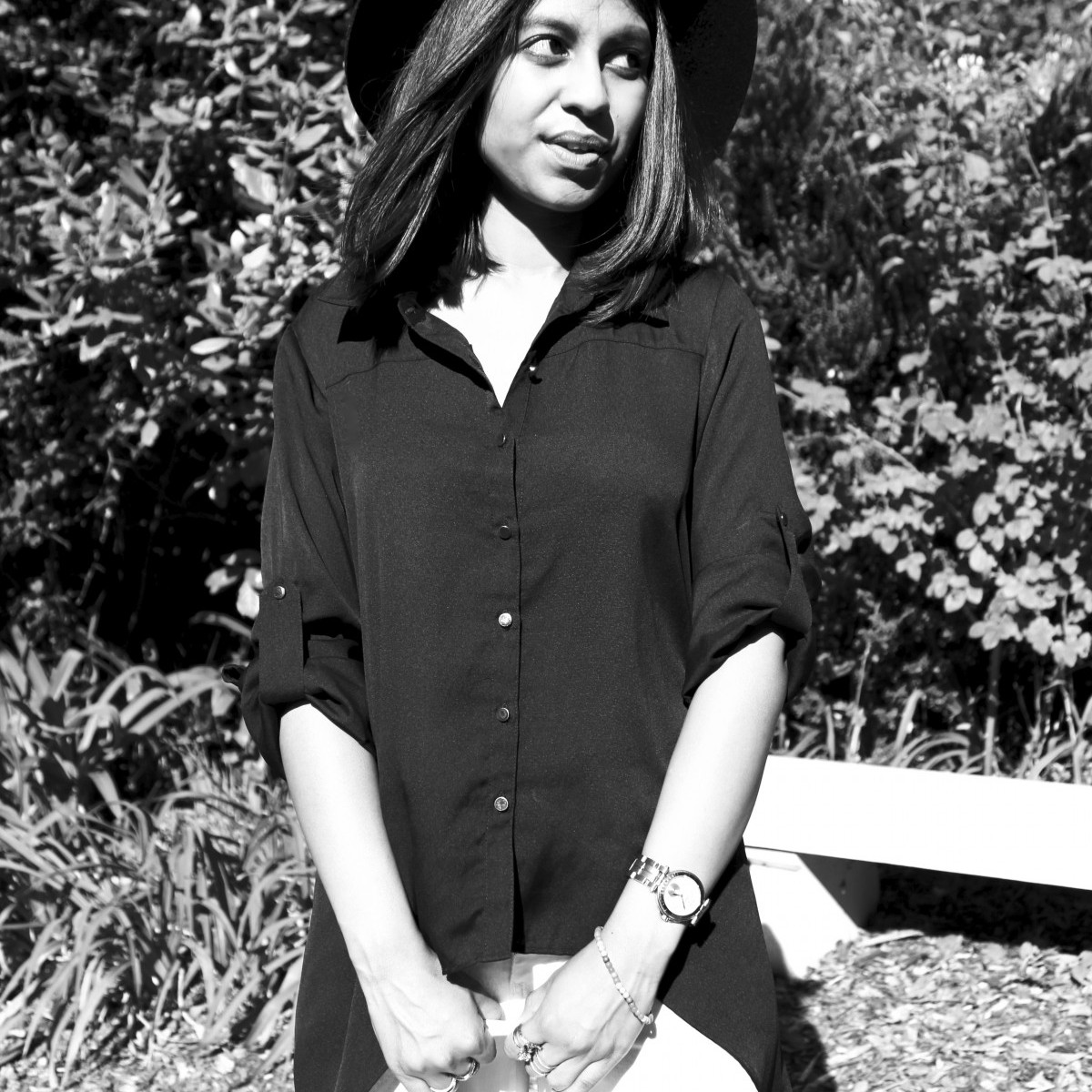 Monochrome outfit fedora hat