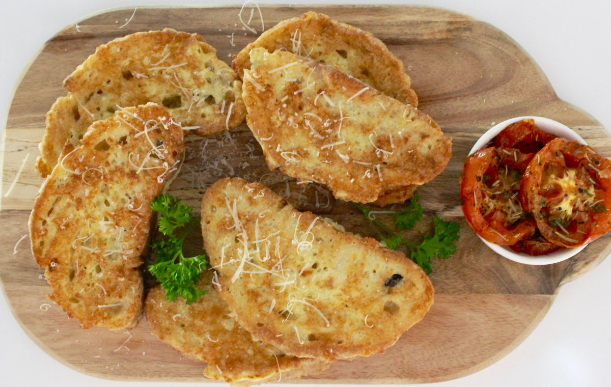 Parmesan french toast recipe with roasted marinated tomatoes