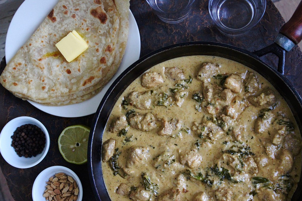 Malai Murgh with kale; traditional Indian recipes with a twist