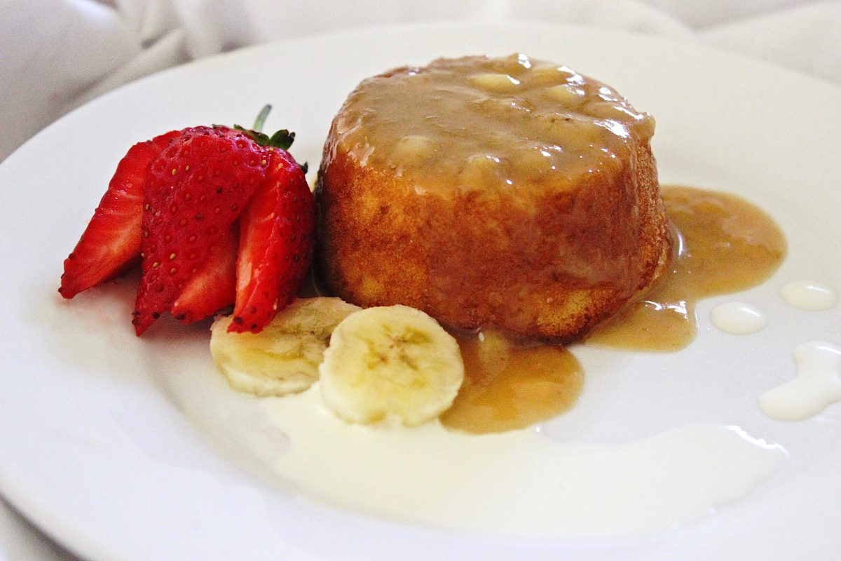 banana bread with banana butterscotch sauce